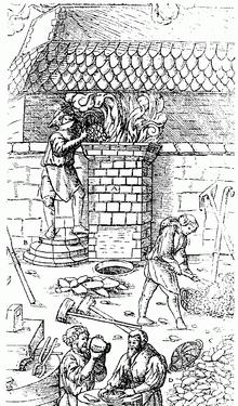 Fabrication d'acier au Moyen Âge dans un bas fourneau.